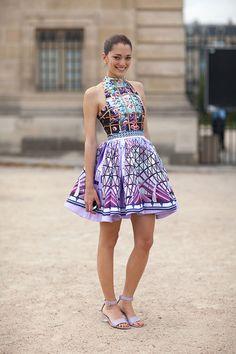 Paris Street Style Fall Couture 2013 -Sofia Sanchez Barrenechea in Mary Katrantzou