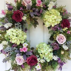 Spring Wreath-Spring Door Wreath-Garden Wreath-Wedding Wreath-Victorian Wreath-Elegant Wreath-Ivy Wreath-Summer Rose Wreath   This large, elegant wreath features a Victorian inspired palette of deep magenta roses, pale violet cottage roses, gorgeous green hydrangea, white-flowered bupleurum and lavender sweet peas. Pink clematis, heather, and magenta waxflower add a lovely touch. A generous mix of natural looking foliage, including woodland ferns, variegated grape ivy, purple lambs ears…