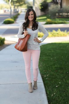 Blush Pink Skinny Jeans, Grey Scoop Neck Tee, Tan Suede Booties, Cognac Leather Tote, 7 for All Mankind, Banana Republic, Joie, Madewell