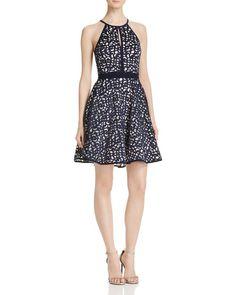 AQUA Laser Cut Fit-And-Flare Dress - 100% Exclusive Women - Bloomingdale s 71ce382c4