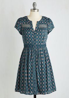 Give and Bake Dress - Mid-length, Woven, Green, Tan / Cream, Print, Buttons, Casual, A-line, Better
