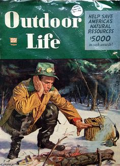 Vintage Outdoor Life magazine man fishing by fire www.lodgemonster.com