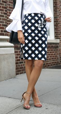 EVERYTHING UNDER $100! // Gingham pencil skirt, white bell sleeve blouse, navy crossbody bag + nude ankle strap sandals {Ann Taylor, Chelsea 28, Sam Edelman, affordable workwear, office style, classic style}