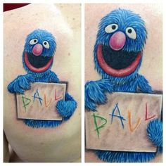 """""""Grover"""" custom tattoo by Jason Dasaro at Arrows and Embers in Concord, NH. #concord #NH #grover #sesame #street #cartoon #art #bodymodification #bodyart #inkedup #tattoo #love #awesome #picoftheday #tattooideas #design #proartist #inkspired"""