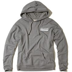 Hollister Oversized Graphic Hoodie ($40) ❤ liked on Polyvore featuring tops, hoodies, grey, fleece tops, hooded pullover, fleece hoodies, sweatshirt hoodies and grey hoodies