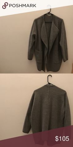 Drapey cocoon Madewell sweater coat grey XS/S Drapey, cocoon style sweater coat for sale! Sold out quickly, can be yours now :) size XS/S. worn lightly. This piece has some pilling as is typical for madewell wool. 100% merino wool, super cute and super warm! Madewell Sweaters