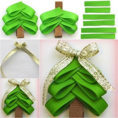 Wonderful DIY Cute Christmas Tree hair Clip - Projects to Try - Ribbon Hair Bows, Diy Hair Bows, Diy Bow, Diy Ribbon, Ribbon On Christmas Tree, Christmas Bows, Simple Christmas, Christmas Crafts, Crafts For Girls