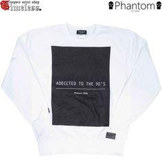 PHANTOM(ファントム)/ ADDICTED TO THE 90'S CREW SWEAT SHIRTS (スェット トレーナー) ホワイト レザーパッチ Thief man ワッペン付き #phantom #sweat