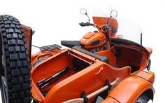 O for awesome: The Ural Yamal limited edition sidecar rig is the only motorcycle supplied new with an oar. It's also outfitted with the teeth of its namesake — a Russian icebreaker ship — and two fog lights mounted on the sidecar bumper. There's flat orange powdercoat for visibility and 3M waterproofing for comfort. And because the Yamal is based on the Gear-Up, you'll have two-wheel drive at your disposal.