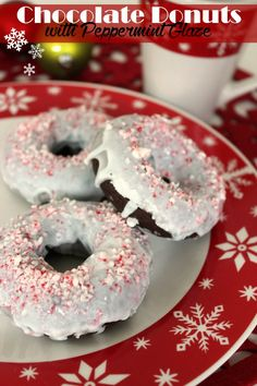 Chocolate Donuts with Peppermint Glaze