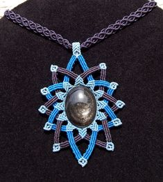Fiber statement necklace BLUE MANDALA with silver sheen obsidian gemstone, handmade micro macrame and stone necklace
