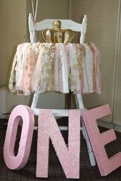 Pink & Gold Princess Party!  Vintage Highchair rented from Re'Luv'd Designs, Simonton, TX | Fabric Garland by Oh My Charley (Etsy) } ONE letters and crown homemade by mommy!