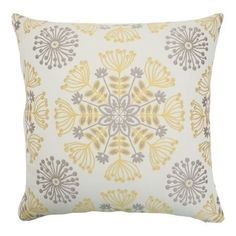 Bring life to your bed or other home furnishings with this floral decor pillow. This 18-inch multi-colored pillow features hues of grey, white and yellow.