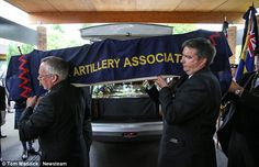 Proud soldier: The coffin was draped in a Royal Artillery Association flag to reflect is ...