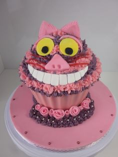 Cheshire Cat Giant Cupcake Pink and Purple