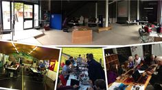 Chelmsford maker Space having started in a hut has become particularly adept at using whatever space is available - indoors and outside! In the end desk surface, storage, places to present and work together are key...