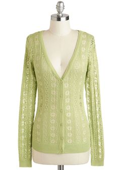 Sprout of Town Cardigan - Green, Solid, Buttons, Knitted, Work, Long Sleeve, Mid-length