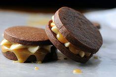 Chocolate Sandwich Cookies with Bailey's Irish Cream Buttercream and Whiskey Caramel