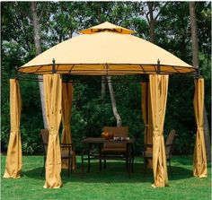 Metal Garden Gazebo Outdoor Heavy Duty Tent BBQ Party Event Canopy Table Chairs