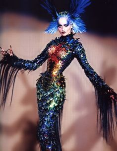 "Adriana Sklenarikova in ""Chimere"" at Thierry Mugler Haute Couture F/W 1997-1998."