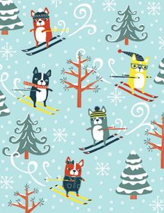 Skiing Dogs On Hill Boxed Christmas Cards. Find at DesignDesign.us