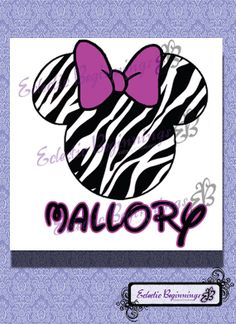 Personalized and Custom Disney Name Digital File, DIY Print Iron On-Minnie Mouse Zebra with Pink Bow
