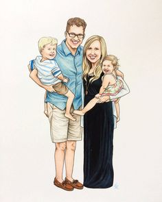 Custom Illustrated Family Portrait  * * * * *  A hand drawn portrait is a wonderful way to capture the personality of your family while adding originality and vibrancy to your home.  Please note: This listing is for an illustrated portrait of a family with young children (ages 1-5). Adults are $60/each and children from ages 1-5 years are $40/each. If you have a baby (0-12 months) that you would like to be included in your family portrait ($20/each) or if you have children olde...