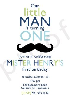 Little Man Mustache Birthday Invitation  Custom DIY by TrendyHenry, $12.00