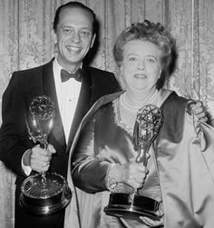 American actors Don Knotts and Frances Bavier smile while holding their awards for their supporting roles in the television series, 'The Andy Griffith Show,' at the Emmy Awards, June Get premium, high resolution news photos at Getty Images Golden Age Of Hollywood, Vintage Hollywood, Hollywood Stars, Classic Hollywood, Frances Bavier, Barney Fife, Don Knotts, The Andy Griffith Show, Old Tv Shows