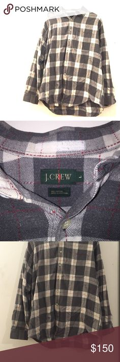 J Crew Plaid Button Up 1 Light Stain Red Grey L Dry Clean Sticker Residue- removed sticker and it left a mark- second picture. Has one stain-ask before purchasing to see a close up if concerned or to make sure you want to go through with purchasing. Plaid Black Grey White with Red Stitching Detail. J Crew Shirts Casual Button Down Shirts