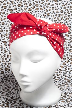 Rockabilly red polka dot head scarf.  http://bad-kitty.co.uk/product-category/rockabilly-psychobilly-head-scarfs-and-bandanas/  Hand made Bad Kitty vintage style 50′s rockabilly roller derby red and white polka dot head scarf, cotton fabric with a plain red reverse.