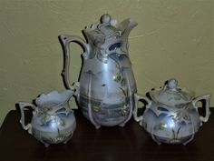 R S PRUSSIA CHESTNUT MOLD CHOCOLATE POT, CREAMER and SUGAR SWAN DECORATION | eBay
