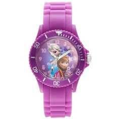 Disney's Frozen Anna & Elsa Women's Watch ($54) ❤ liked on Polyvore featuring jewelry, watches, purple, disney jewellery, bezel watches, snowflake jewelry, bezel jewelry and disney