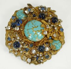 Vintage Miriam Haskell Brooch Signed Turquoise | Collectors Weekly