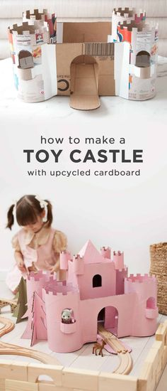 Build a Toy Castle from Upcycled Cardboard - A Beautiful Mess toys, Build a Toy Castle from Upcycled Cardboard Cardboard Box Castle, Toy Castle, Cardboard Box Crafts, Cardboard Playhouse, Cardboard Toys, Cardboard Furniture, Preschool Crafts, Diy Crafts For Kids, Projects For Kids
