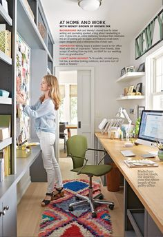 to add color with home accessories home office is small, but there is room for everything that matters! The long butcher block desk surface spans the length of the room and is centered in front of this bright and cheerful window. Again, color is added wi Cool Office Space, Office Nook, Office Workspace, Small Office, Home Office Desks, Office Decor, Sunroom Office, Hallway Office, Bright Office