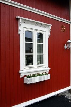 Norwegian house number 23 with small window planter. Norwegian House, Swedish House, Swedish Style, Swedish Design, White Cottage, Cozy Cottage, Vertical Siding, Red Houses, H & M Home