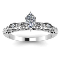 Marquise Cut Engraved Pave Diamond Engagement Ring