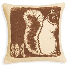 Pillow Brown Squirrel Silk screened on Cotton Bark by erinflett, $75.00