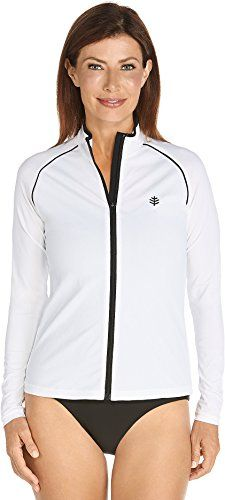 Coolibar UPF 50 Womens Long Sleeve Water Jacket  Sun ProtectiveWhiteBlackXXLarge * You can get more details by clicking on the image.