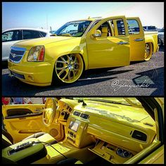 chevy truck with denali front end. yellow and black interior custom slammed tucked clip Air Ride, Chevrolet Silverado, Diesel Engine, Kustom, Chevy Trucks, Car Show, Slammed, Yellow, Metal