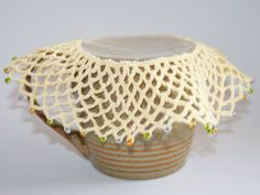 Beaded milk jug cover - project for the Vintage Crochet and Afternoon Tea workshop with Nicki Merrall Thread Crochet, Crochet Doilies, Knit Crochet, Beaded Crochet, Crochet Home, Crochet Crafts, Crochet Projects, Crochet Classes, Learn To Crochet