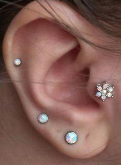 Cute Multiple Tragus Ear Piercing Ideas at MyBodiArt.com - Opal Flower Tragus Earring Jewelry