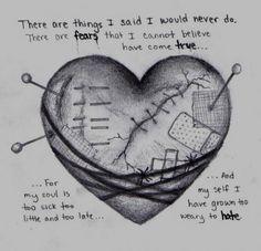 Sad HeartBroken | deviantART: More Like Sad heart, drawing by me by ~DarkAngelsTears: