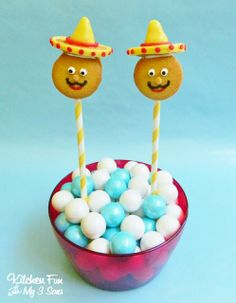 Cinco de Mayo Cookie Pops using vanilla wafers...so easy & fun for the kids! KitchenFunWithMy3Sons.com
