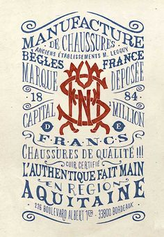 Typography seems to be written in French and some in English. The color artwork used for the  Typography  design is blue and red.   http://doublemesh.com/inspiration/30-inspiring-typography-designs/