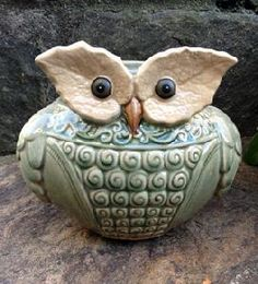 Purchase a wide collection of Planters & Vases through WinterthurStore Clay Owl, Beautiful Owl, Owl Crafts, Ceramic Owl, Owl Bird, Clay Animals, Night Owl, Pottery Studio, Spirit Animal