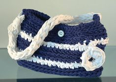 Crochet XXL Bolso de trapillo bicolor por Gnolo en Etsy