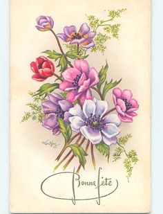 Pre-Chrome foreign signed BEAUTIFUL ASSORTMENT OF COLORFUL FLOWERS HL8431