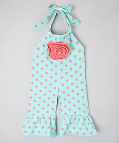 Look at this #zulilyfind! Mint & Pink Polka Dot Jumpsuit - Infant, Toddler & Girls by One Posh Kid #zulilyfinds